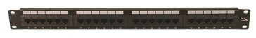 Picture of a 24 Port Patch Panel from FOURPAIR.com.  Patch panel is 19 inches long by 1.75 inches tall and black.  There are 24 RJ45 ports on the front and each is numbered (1 to 24).  There is a very small white space above each port for labeling.