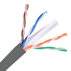 101164GY - CAT6E 550MHz Cable, 4 Pair, UTP, Riser Rated (CMR), Solid Bare Copper - Grey - 1000ft