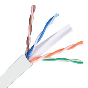 101364WH - CAT6E 550MHz Cable, 4 Pair, UTP, Plenum Rated (CMP), Solid Bare Copper - White - 1000ft