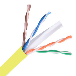 101164YL - CAT6E 550MHz Cable, 4 Pair, UTP, Riser Rated (CMR), Solid Bare Copper - Yellow - 1000ft