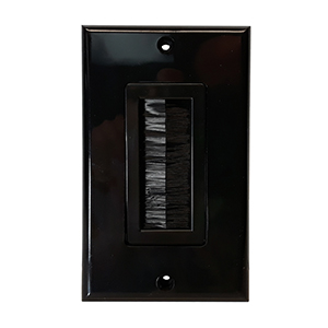 102080BK - Bulk Cable Wall Plate with Bristle Opening - Black
