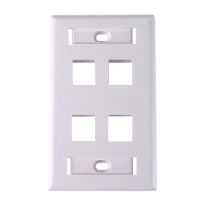 "102124D-WH - 4-Port Keystone Wall Plate with 3/8"" Station ID - White"