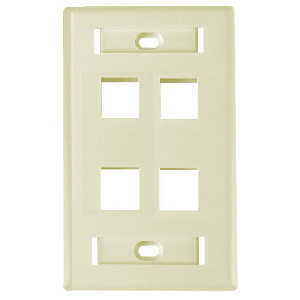 "102124D-AL - 4-Port Keystone Wall Plate with 3/8"" Station ID - Almond"