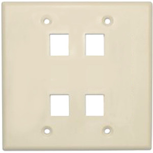 102134AL - 4-Port Double Gang Keystone Wall Plate - Almond