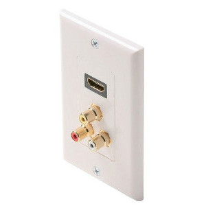 102174WH - HDMI + 3-RCA Composite Video and Audio (Red/White/Yellow) Wall Plate - White