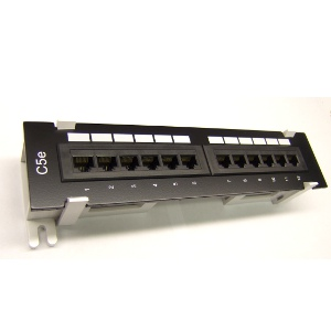 103210 - CAT5e Standard 12-Port Mini Patch Panel w/Bracket