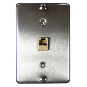 106306SS - 1-Port RJ12 6P6C Hanging Telephone Wall Plate - Stainless Steel