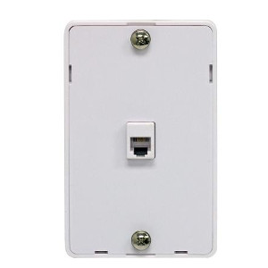 106305WH - 1-Port RJ11 6P4C Hanging Telephone Wall Plate - White