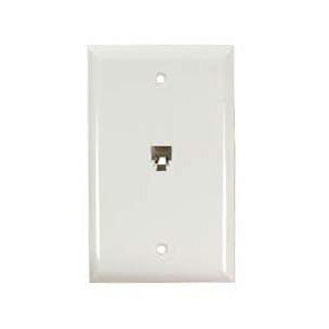 106365WH - 1-Port RJ11 6P4C Smooth Telephone Jack Wall Plate - White