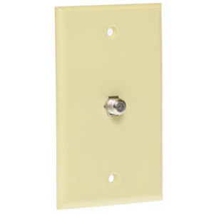 106390IV - 1-Port Smooth Coax F-Type Jack Wall Plate - Ivory