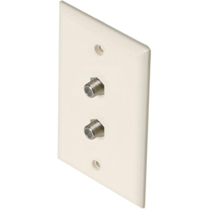106393AL - 2-Port Smooth Coax F-Type Jack Wall Plate - Almond