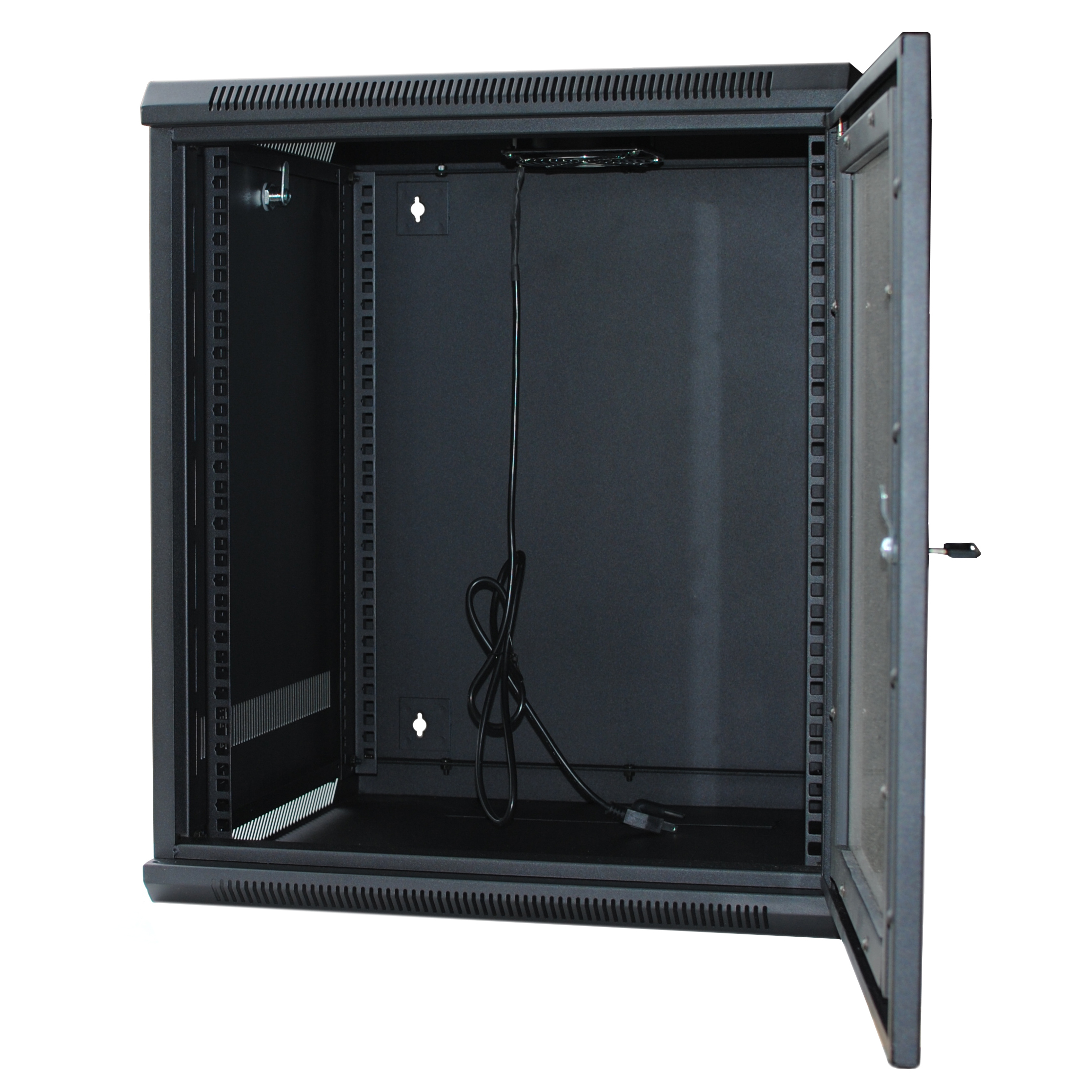 "120278BK - 15U Wall Mount Cabinet Rack w/Locking Glass Door & Cooling Fan - 18"" Deep (Fully Assembled)"