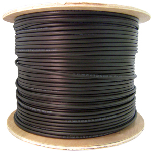 191151BK - CAT5e Outdoor UV Direct Burial Cable, 350MHz, 4 Pair, UTP, Solid Bare Copper - Black - 1000ft