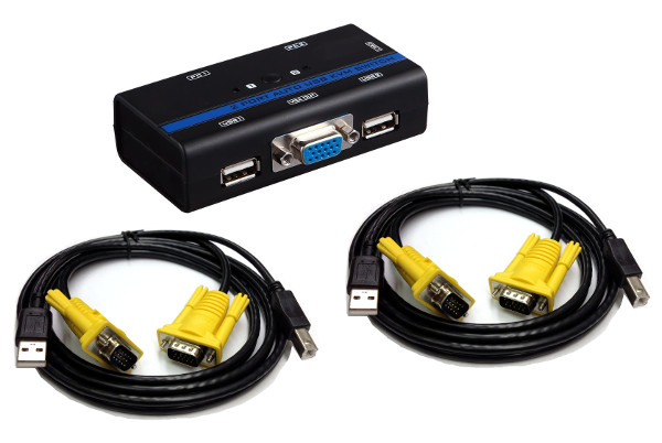 250522 - 2-Port Auto-Scan USB 2.0 KVM Switch with KVM Cables