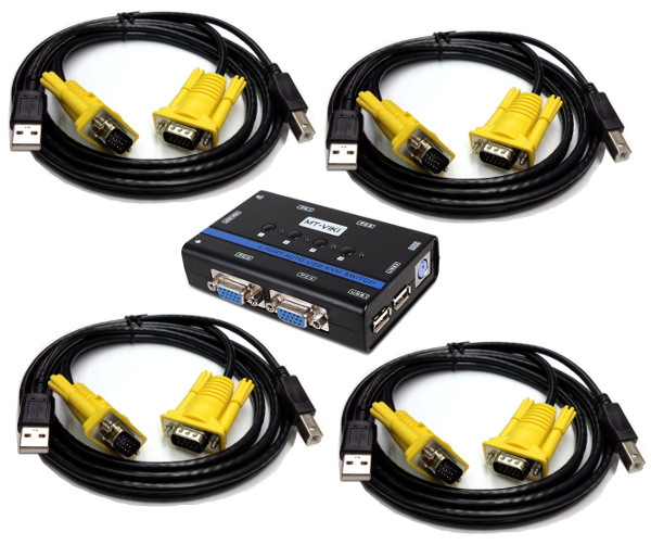 250534 - 4-Port Auto-Scan USB 2.0 + Audio KVM Switch with KVM Cables