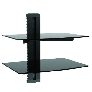 309416BK - Dual Wall Mount Glass Shelves for AV Components