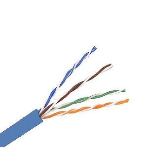 101354BL - CAT5e 350MHz Cable, 4 Pair, UTP, Plenum Rated (CMP), Solid Bare Copper - Blue - 1000ft