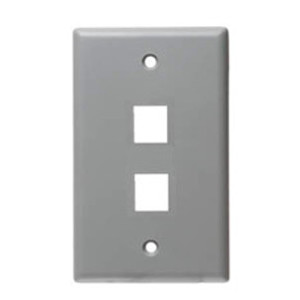102102GY - 2-Port Keystone Wall Plate - Grey