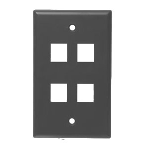 102104BR - 4-Port Keystone Wall Plate - Brown