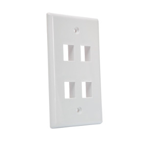 102104WH - 4-Port Keystone Wall Plate - White