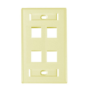 "102124D-IV - 4-Port Keystone Wall Plate with 3/8"" Station ID - Ivory"
