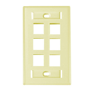 "102126D-IV - 6-Port Keystone Wall Plate with 3/8"" Station ID - Ivory"