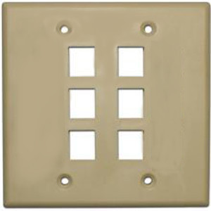 102136-IV-DYC - 6-Port Double Gang Keystone Wall Plate - Ivory