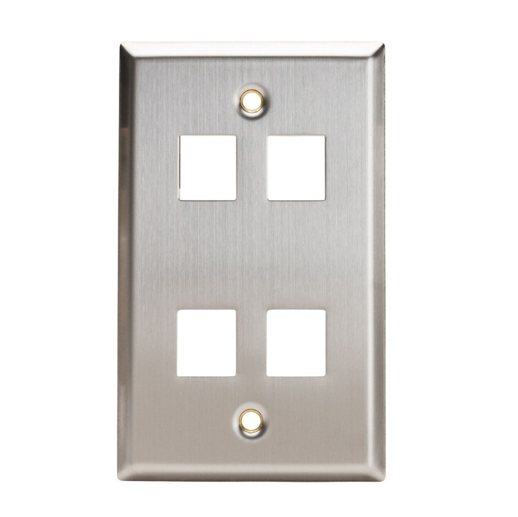 102154 - 4-Port Stainless Steel Wall Plate