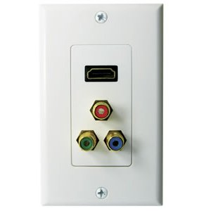 102176WH - HDMI + 3-RCA Component Video (Red/Green/Blue) Wall Plate - White