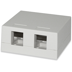 102302D/WH - 2-Port Keystone Surface Mount Box (Suitable for 8-in-a-row Jacks) - White