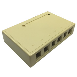 102306D/IV - 6-Port Keystone Surface Mount Box (Suitable for 8-in-a-row Jacks) - Ivory