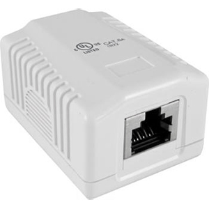 102321WH - 1-Port CAT6 Loaded Surface Mount Jack Box - White