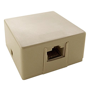 102341IV - 1-Port CAT5e RJ31X (Security) Loaded Surface Mount Jack Box - Ivory