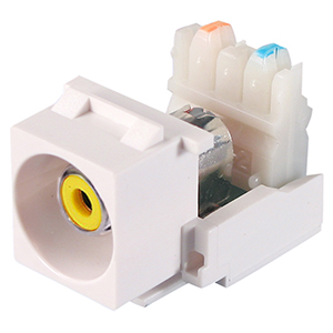 102600WH/YL - Yellow  RCA Keystone Jack Insert - RCA Female to 110 Block - White
