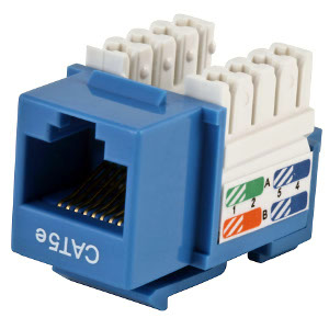102650BL - CAT5e - RJ45 - Premium Punch Down Keystone Jack Insert - Blue