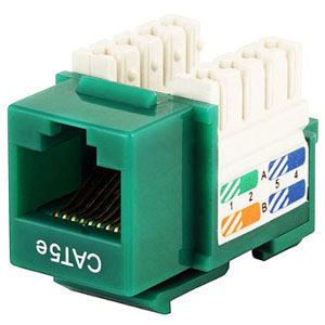 102650GN - CAT5e - RJ45 - Premium Punch Down Keystone Jack Insert - Green