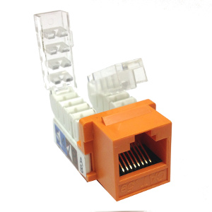 102656OR - CAT5e - RJ45 - Toolless Keystone Jack Insert - Orange