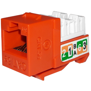 102710OR - APEX CAT5e - RJ45 - Punch Down Keystone Jack Insert - Orange