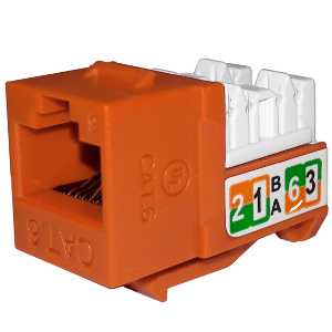 102720OR - APEX CAT6 - RJ45 - Punch Down Keystone Jack Insert - Orange