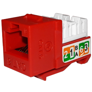 102720RD - APEX CAT6 - RJ45 - Punch Down Keystone Jack Insert - Red