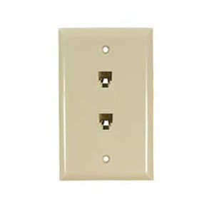106361IV - 2-Port RJ12 6P6C Smooth Telephone Jack Wall Plate - Ivory