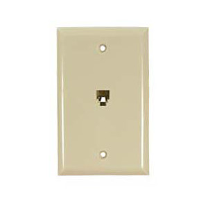 106365IV - 1-Port RJ11 6P4C Smooth Telephone Jack Wall Plate - Ivory