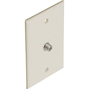 106390X-AL - 1-Port Smooth Coax F-Type Jack Wall Plate - Almond