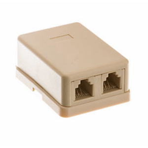106415IV - 2-Port RJ11 6P4C Telephone Surface Mount Box - Ivory