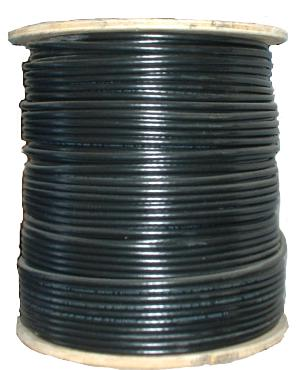 140553 - RG-59 + 18/2 - Solid Bare Copper Conductor - 95% Copper Braid - 1000 Ft - Black