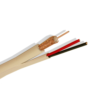 140540 - Siamese RG59 Coax Cable, Plenum (CMP), Bare Copper Conductor + 18/2 Power Wire - White - 1000ft