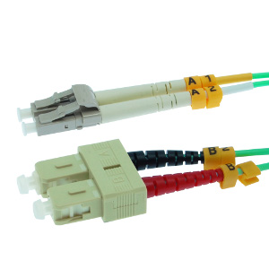 162238/10M - SC-LC 10 Gigabit OM3 Multimode Duplex Fiber Optic Jumper - 50/125 - 10 Meter