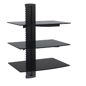 309417BK - Triple Wall Mount Glass Shelves for AV Components