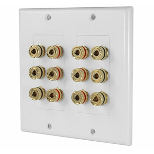 3W1006WH - 6 Speaker Wall Plate