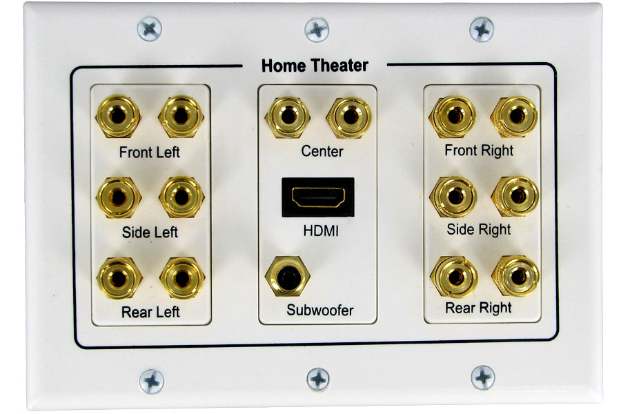 3W1075WH - 7.1 Speaker Wall Plate with HDMI Port